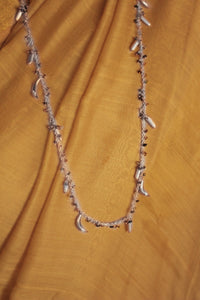 Bheeja Long Necklace with Rice Grains, Crescent Moons & Tourmaline Beads- Silver
