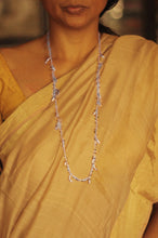 Load image into Gallery viewer, Bheeja Long Necklace with Rice Grains, Crescent Moons & Tourmaline Beads- Silver