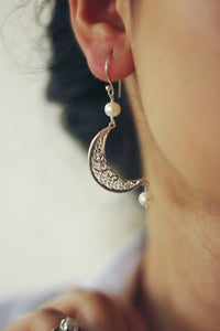 Filigree Crescent Hook Earrings With Pearl