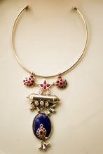 Load image into Gallery viewer, Lotus Hamsa Taweez Lapis Choker with Bells (Silver)