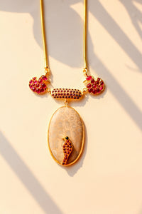 Hamsa Meenakshi Parrot on Fossil Coral Gemstone Necklace (Gold-plated)