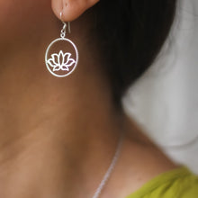 Load image into Gallery viewer, Lotus In A Circle Earrings