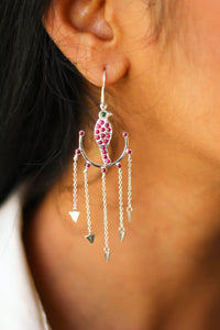Goddess Parrot In Swing Arrow Chandelier Earrings (Silver)