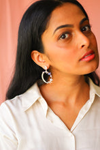 Load image into Gallery viewer, Moonstone Stud And Kamadeva's Arrow With 5 Flower Earrings (Silver)