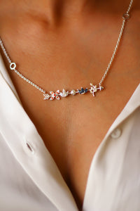 Kamadeva's Arrow With 5 Flowers Necklace (Silver)