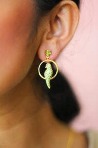 Peridot Studded Parrot Seated In A Swing Stud Earrings (Gold-plated)
