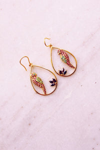Gem Studded Parrot In A Water Drop (Gold-plated)
