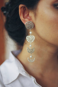 Phases of the Moon Earrings With Pearls