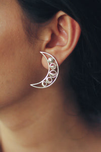Phases of the Moon Embedded In A Crescent Stud