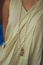 Load image into Gallery viewer, White Pearl String With Bikaner Beads Om Pendant