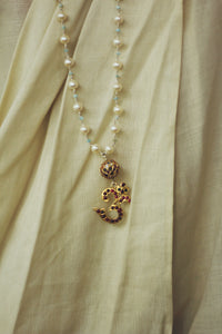 White Pearl String With Bikaner Beads Om Pendant