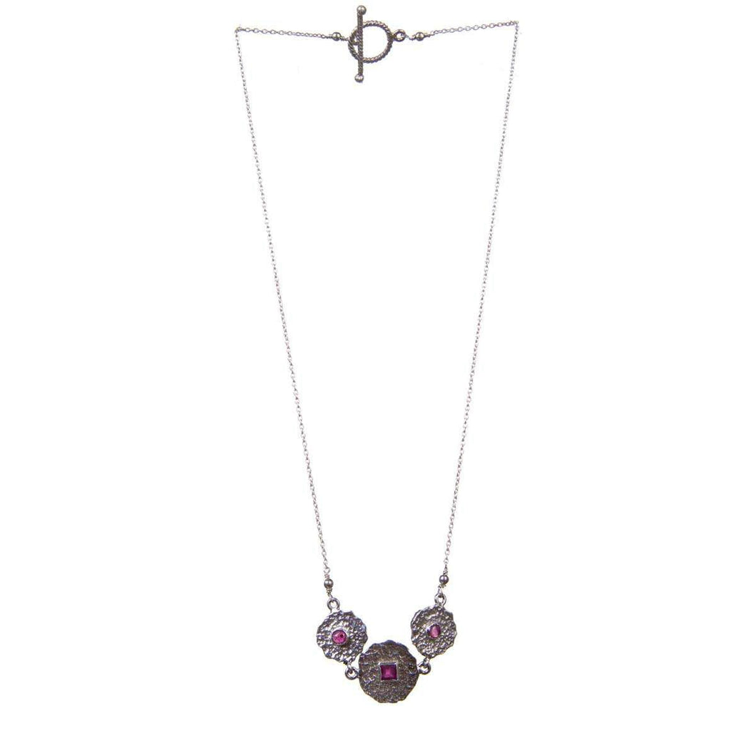 Uneven Three Beaten Coin Necklace In Rubies