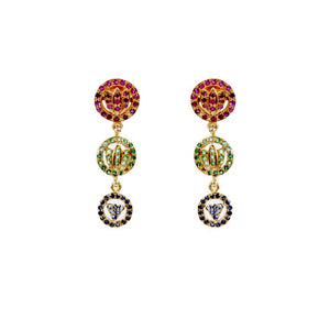 Lotus Devi Earring In Rubies Emeralds And Sapphire