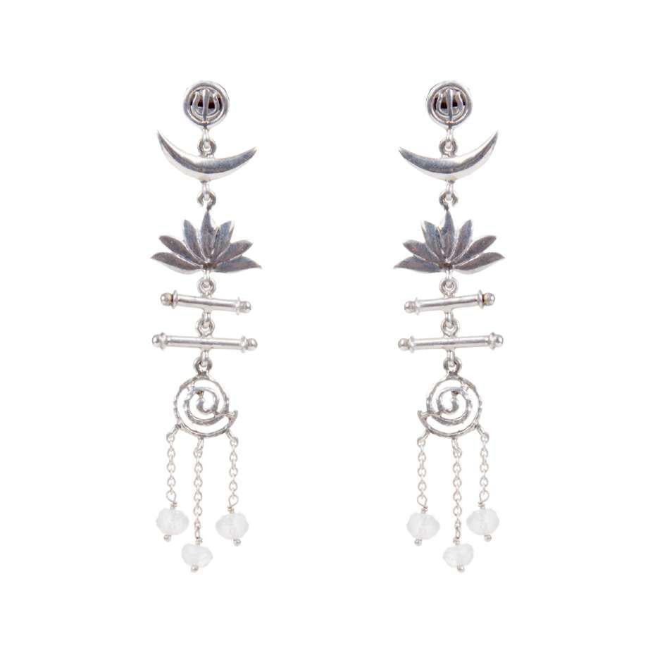 Trishul Moon Lotus Spiral Devi Earrings