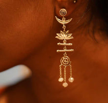Load image into Gallery viewer, Trishul Moon Lotus Spiral Devi Earrings