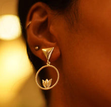Load image into Gallery viewer, Devi Lotus In A Circle Earrings