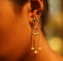 Load image into Gallery viewer, Om Lotus Moon Tantra Earrings
