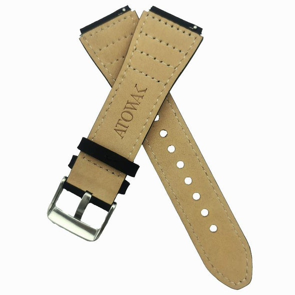 Black  Leather Strap With Black Stitching