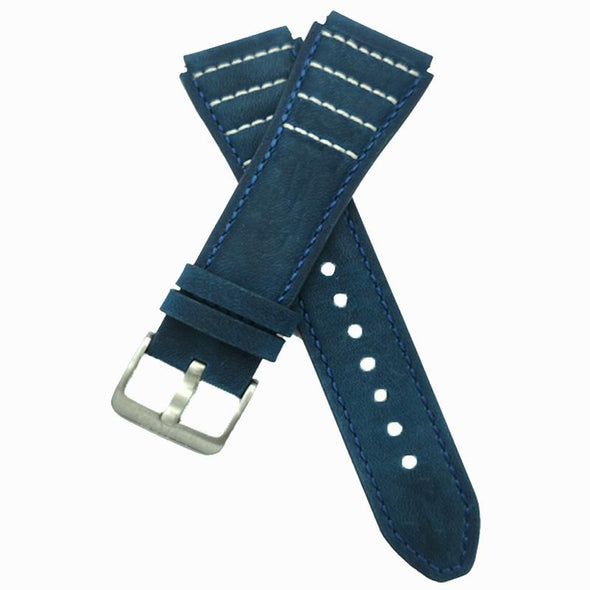 Blue Leather Strap With White Stitching