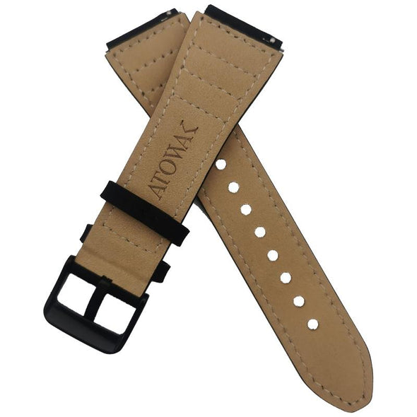 Black Leather Strap With Gold Stitching
