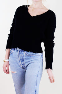 Cropped V-Neck Sweater