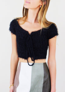 Black Eyelash Lace-up Front Crop Sweater