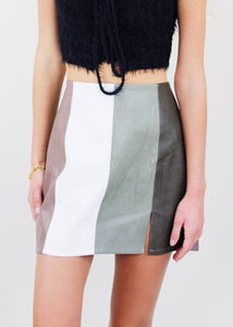 Colorblock Faux Leather Skirt