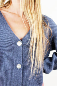 Charcoal V-Neck Cropped Sweater