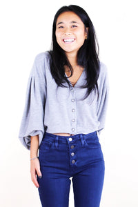 Entice Button Front Cardi Grey