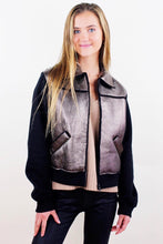 Load image into Gallery viewer, Metallic Leather Jacket