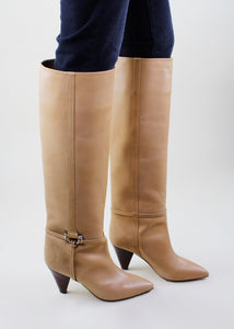 Beige Leather Knee High Boots