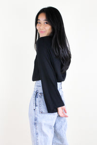 Bell Sleeve Elastic Neck Top Black