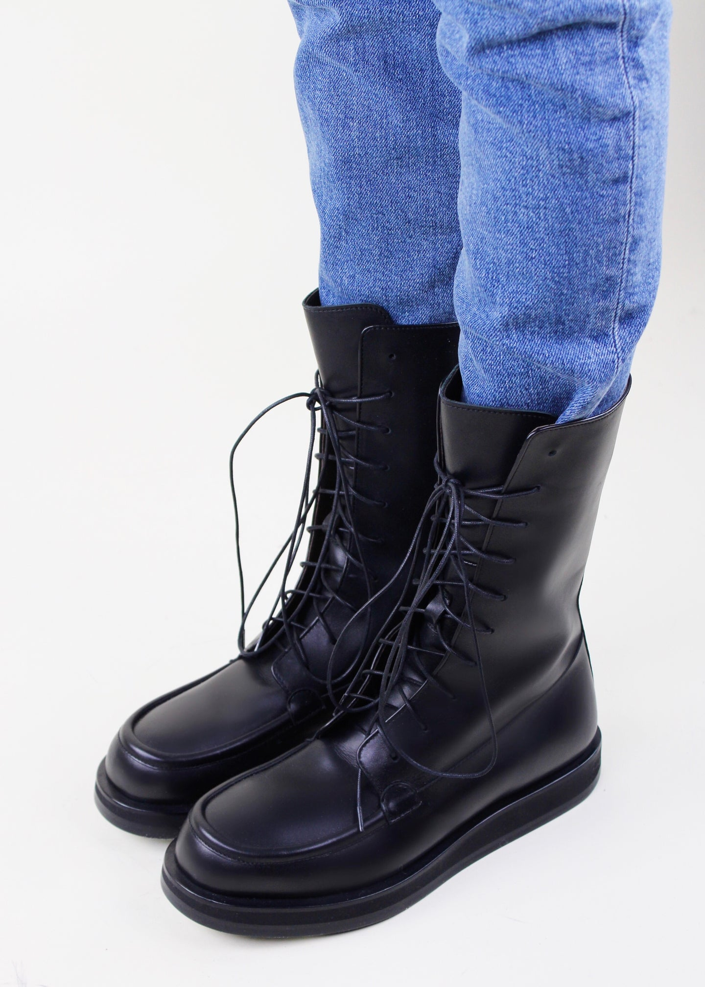 Black Lace-Up Boots