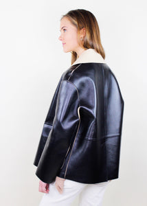 Button Black Leather Jacket with Stitch Detail