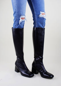 Black Square Toe Tall Boots