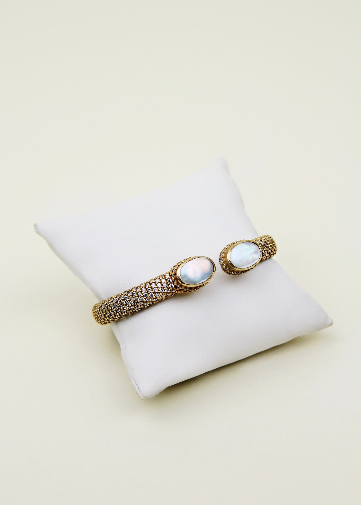 Gold Mother of Pearl Cuff Bracelet