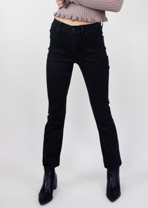 Coated Black Lennon Cropped Boot Jean