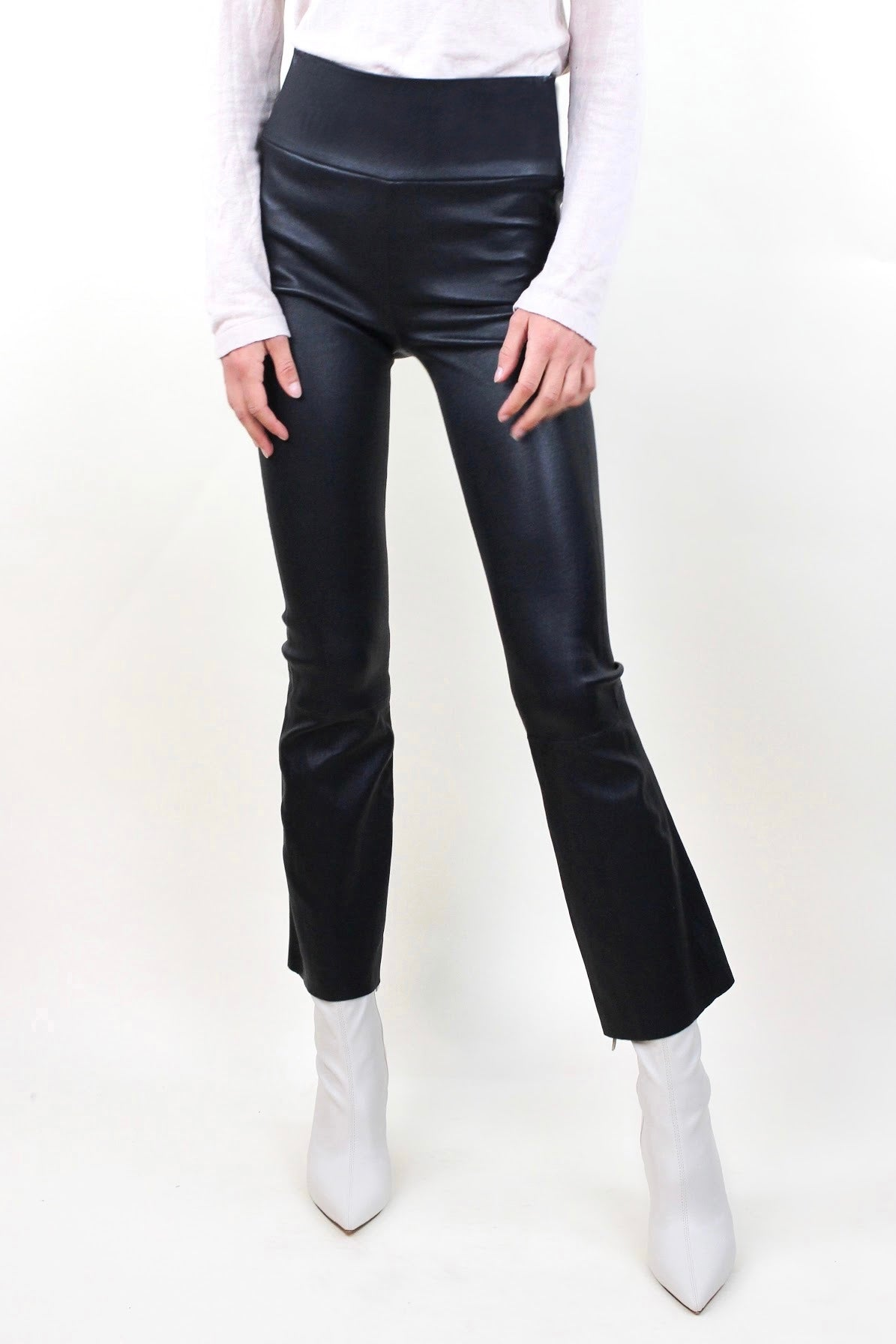 Crop Flare Leather Leggings