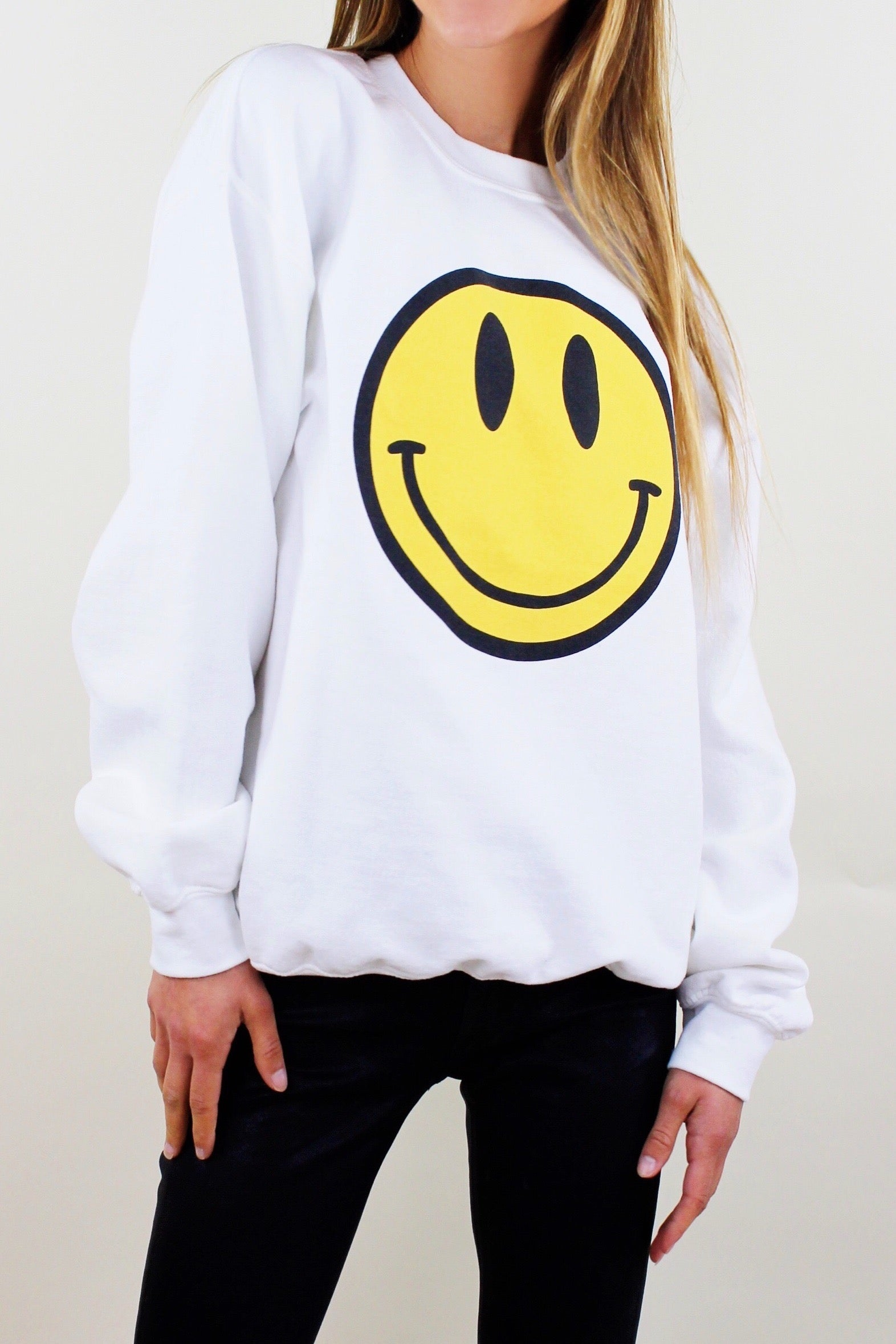 Happy Face Crew Neck Sweatshirt