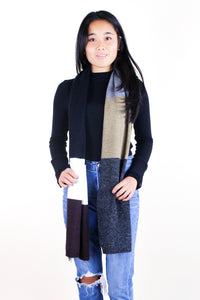 Colorblock Scarf With Side Fringe