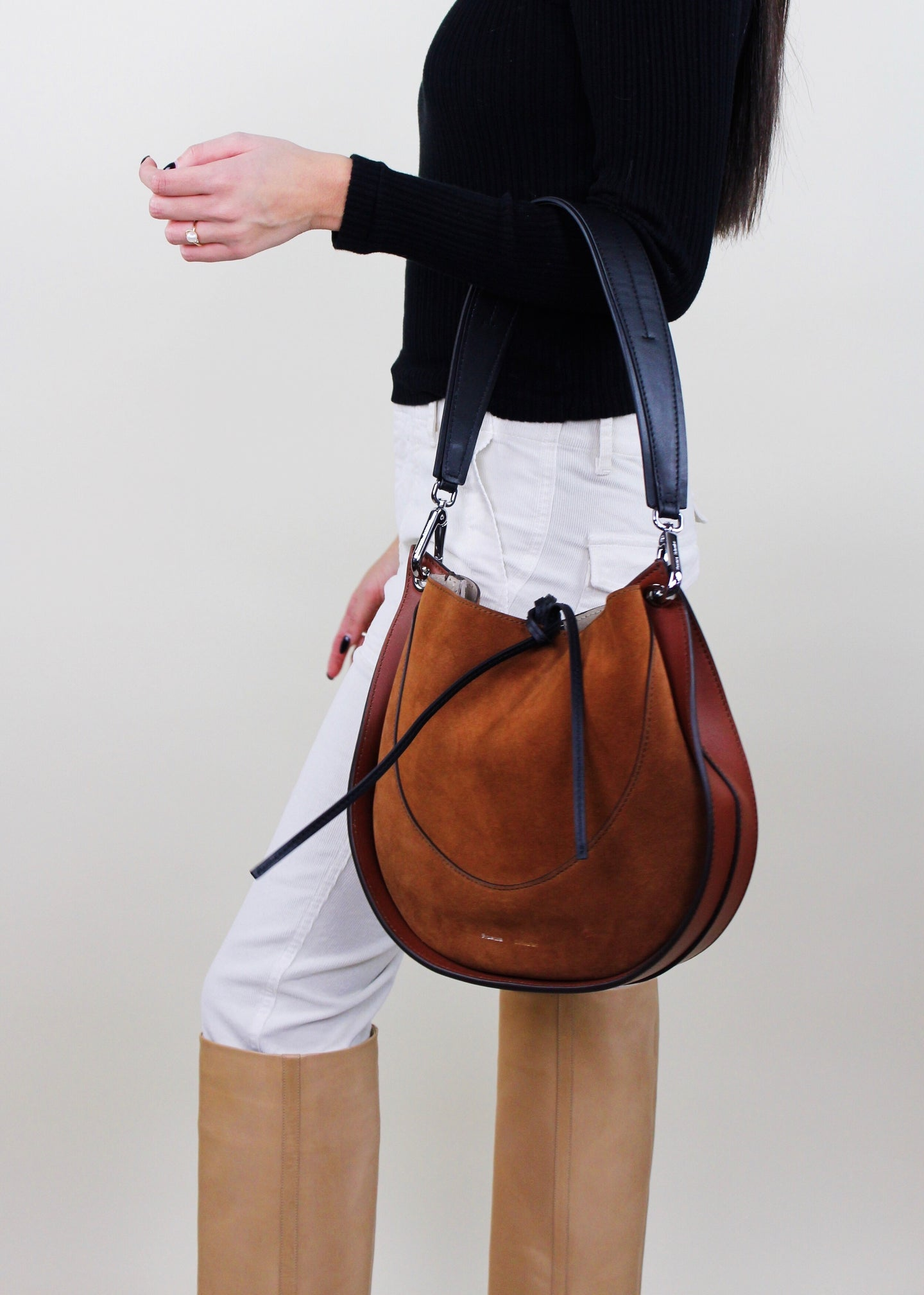 Brown Suede Small Hobo Bag