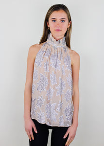 Lazana Metallic Ruffle Neck Top