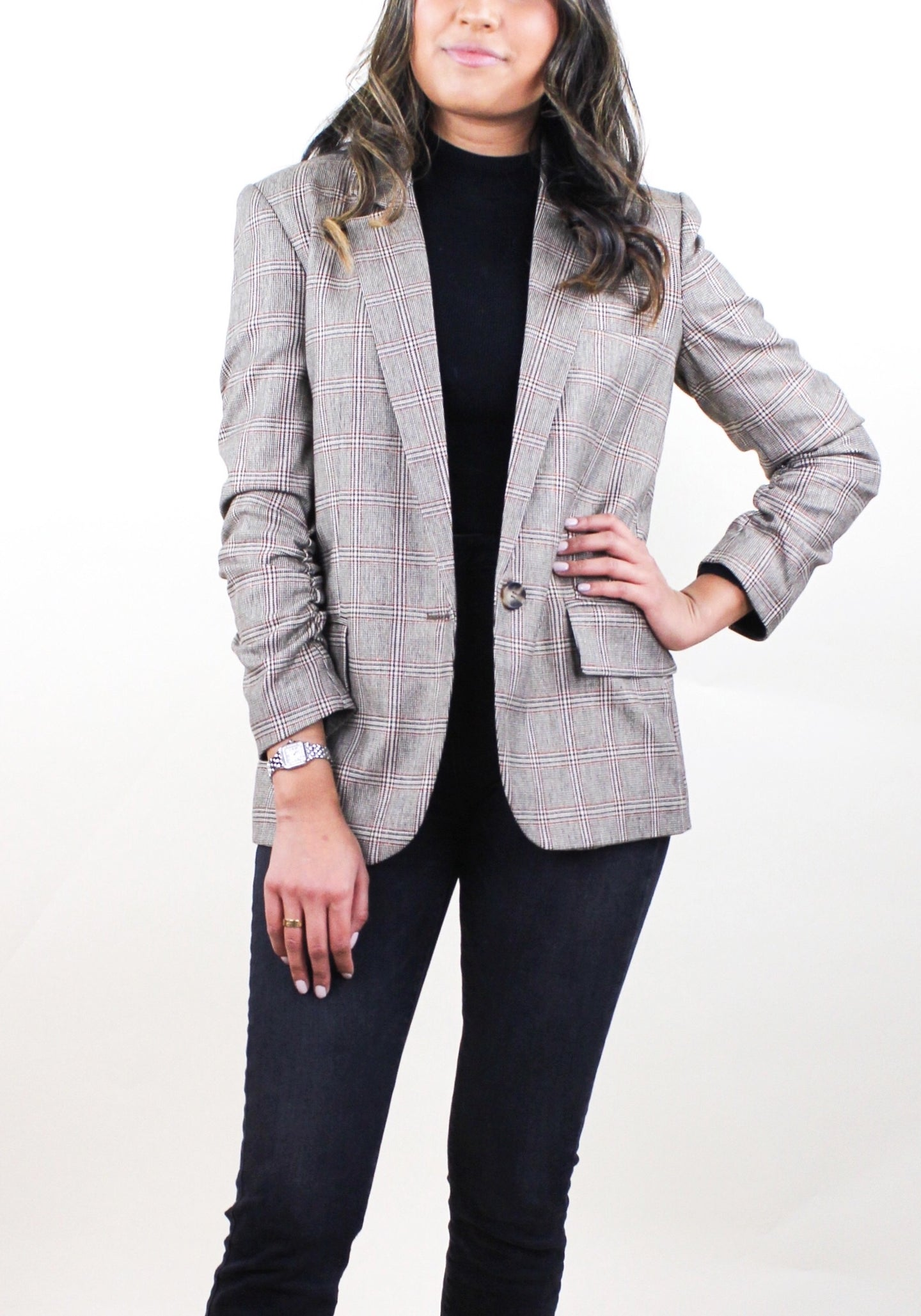 Jameson Plaid Boyfriend Blazer