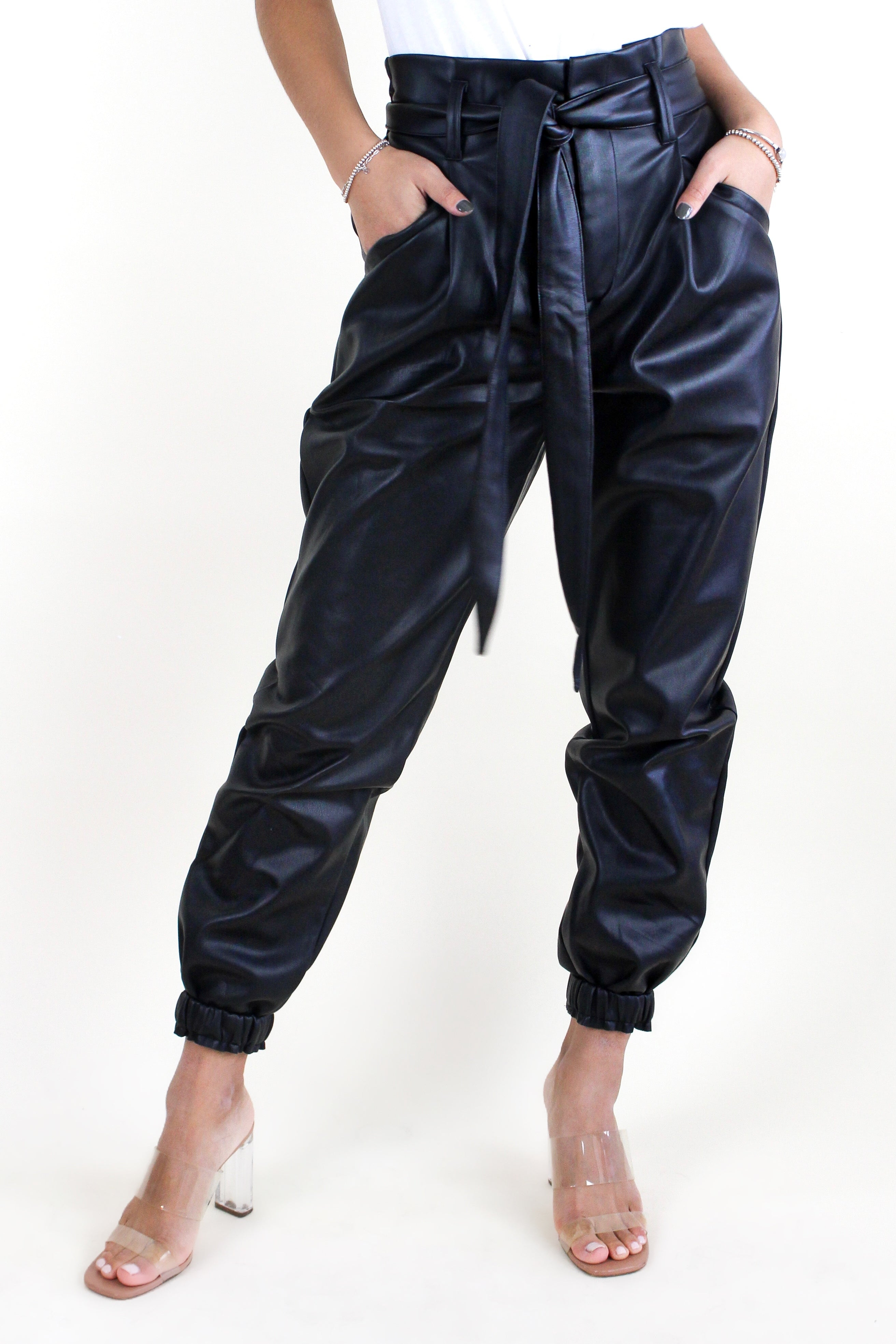 Faux Leather Belted Pant