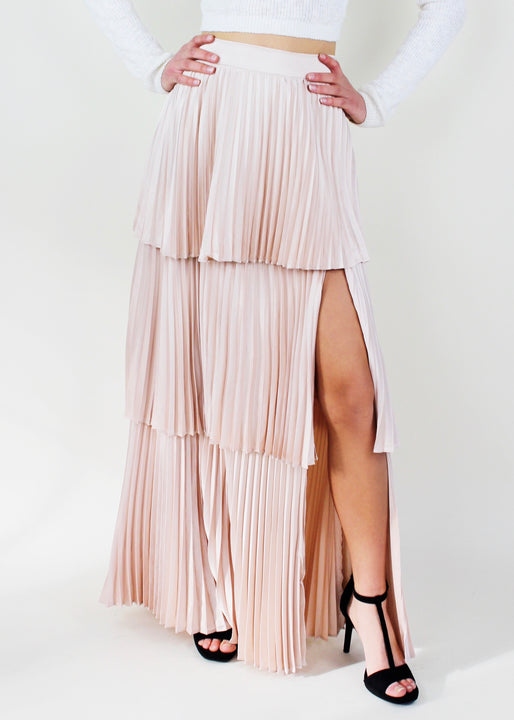 Light Taupe Layered Pleated Maxi Skirt