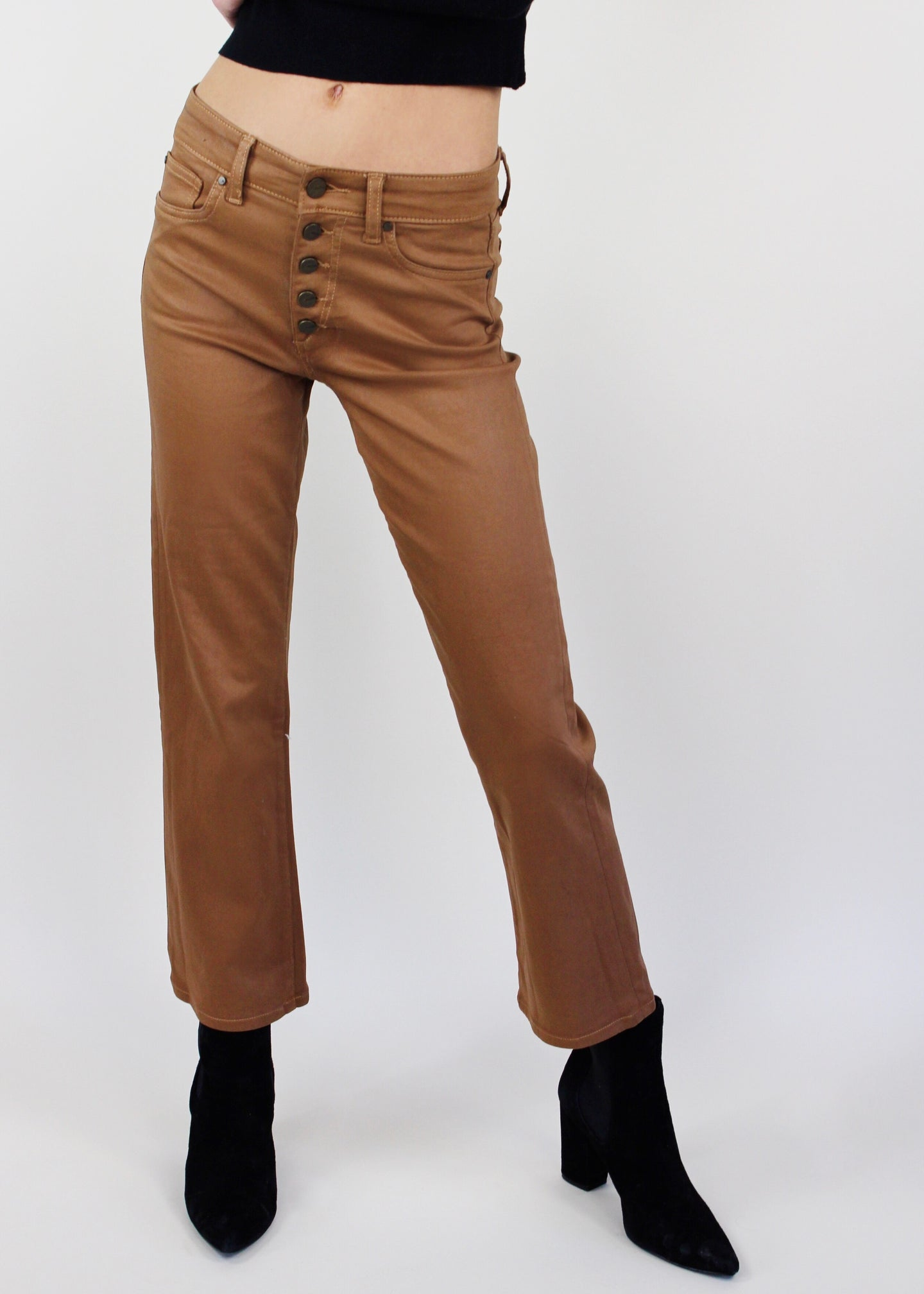 Maple Coated Crop Flare Jeans