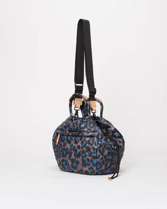 Metro Drawstring Bucket Blue Leopard Bag
