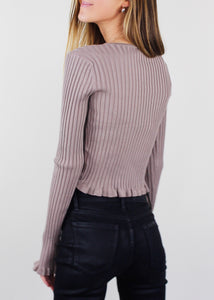 Mocha Ribbed Ruffle Top