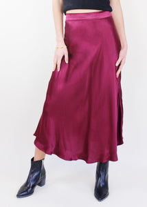 Wine Satin Midi Flared Skirt
