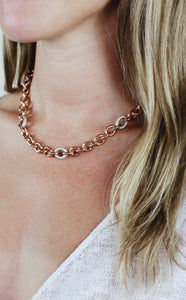 Rose Gold Chain with Crystal Links